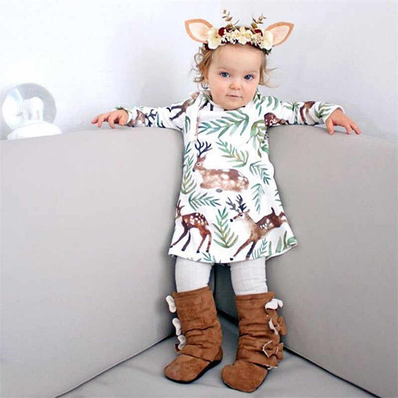 Baby Girls Clothing Dress Kids Girls Long Sleeve O-neck Dress One-piece Trees Deer Cotton Dresses Toddlers Clothes Kid Bow Dress