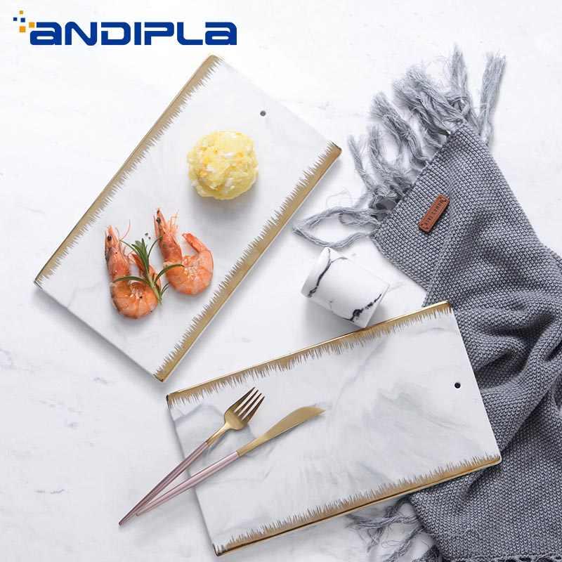 Nordic Mewah Berlapis Emas Keramik Tekstur Marmer Peralatan Makan Masakan Jepang Sushi Piring Buah Kue Hidangan Fashion Restoran Tray
