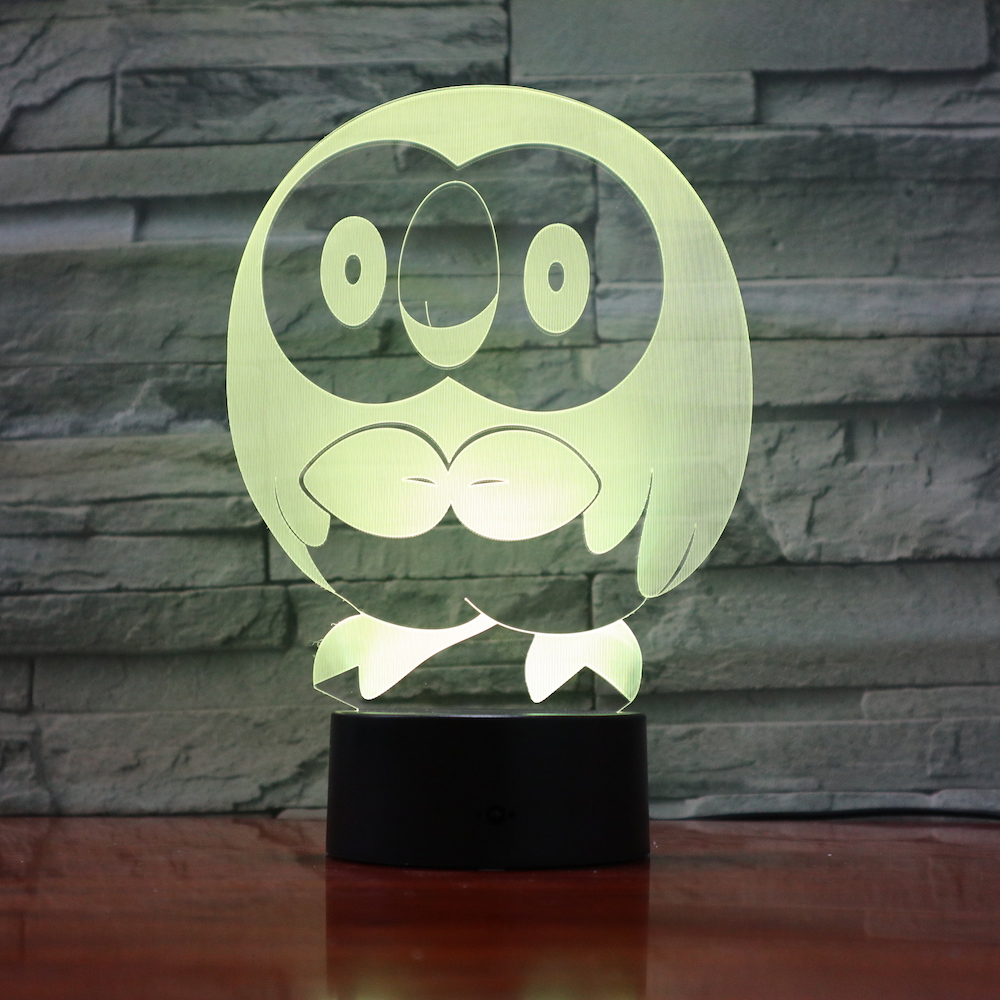 Pokemon Go Rowlet Figure 3d Night Lamp LED Touch Sensor Nightlight Room Decoration Drop Shipping Battery Night Light Rowlet