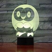 Pokemon Go Rowlet Figure 3d Night Lamp LED Touch Sensor Nightlight Room Decoration Drop Shipping Battery Light