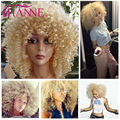 Synthetic Hair Wigs Heat Resistant afro kinky curly None Lace Wigs Red or #613 blonde curly Hair Wigs For African American Woman