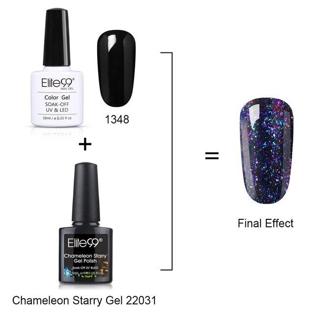 Elite99 10 ml Chameleon Starry Gel Nagellack Schwarz Basis Benötigt Semi Permanent Galaxy Gel Tränken Weg UV Gel für Nagel Kunst
