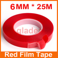 2pcs 6MM*25M Strong Acrylic Adhesive PET Red Film Tape Clear Double Side No Trace For Phone Tablet LCD Screen Glass Repair Tool