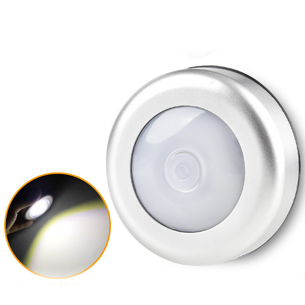 6 Led Adhesive  Control Wireless Night Light Silver Cabinet Lamp Battery Powered Stepless Dimming Pat Security Kitchen