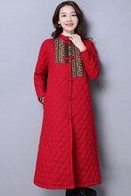 Chinese Style Plus Size Women Overcoat Slim Retro Botton Clothing Thick Warm Winter Windproof Jacket Coat Chinese Red MY0016