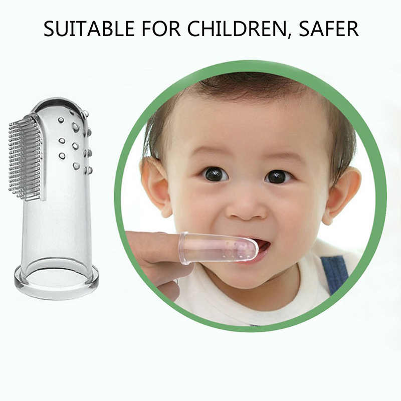 Fashion Oral Health Care Baby Kid Soft Silicone Finger Toothbrush & Gum Massager Brush Clean Teeth Baby Oral Care