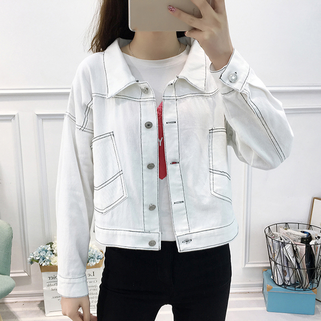 89bb7b2eb7bfb Women Cropped Denim Jacket Female Spring Short Coat Vintage Red Yellow Jean  Jacket Fashion Long Sleeve Jackets Women Outerwear