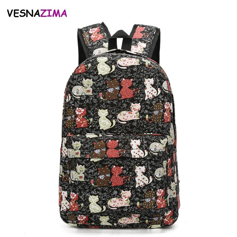 Lovely Cat Printing Backpack Women Canvas Backpacks School Bags For Teenager Girls Ladies Casual Cute Rucksack Bookbags WM12Z anime himouto umaru chan umaru doma casual dance pants lovely fashion school backpacks for girls canvas