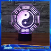3D Vision Chinese Culture Ba Gua Eight Diagrams 7 Colorful Gradients LED Acrylic Plate Desk Lamp