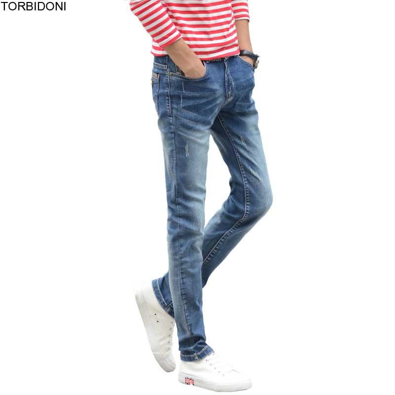 men slim jeans business casual elastic skinny summer denim