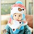 Bebé Lindo de Invierno de Punto Con Orejeras Sombrero y La Bufanda de Los Cabritos Casquillo caliente + Bufanda Niños Niños Niñas Ropa de Moda de Navidad accesorios
