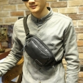 Multifunctional Fanny Bag Casual Waist Pack Bag Suit for Outside black PU Leather Fashion bag Unisex Phone Belt Bag Coin Purse