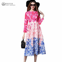 High Quality Ruwnay Autumn Dress Women S O Neck Long Sleeved Tiered Gradient Color Floral
