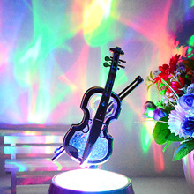 Bevigac Portable Violin Shape Music Box Relax Projection Lamp Projection Romantic Night Light for Kid Adult Bedroom Home