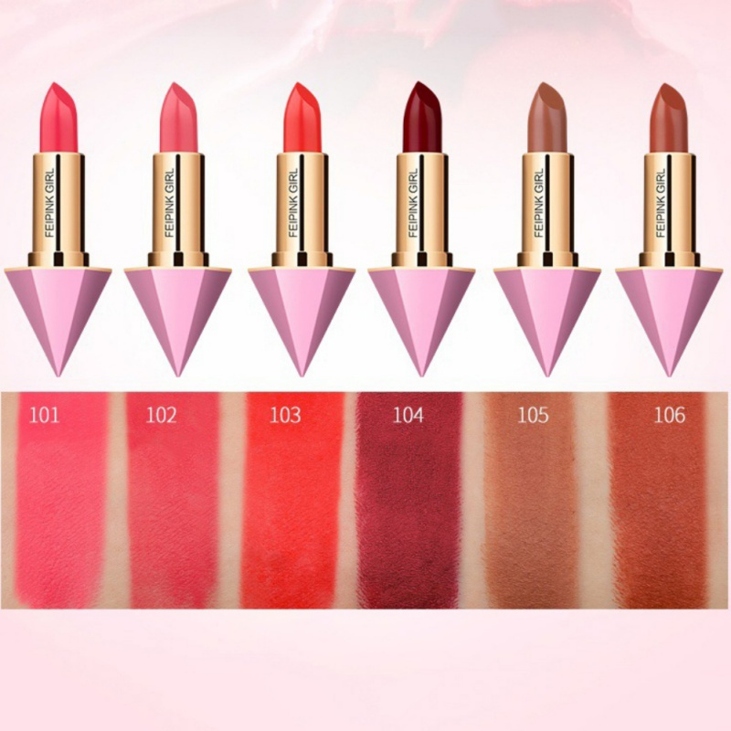 Fashion Color Beauty Red Lips Baton Matte Lip Stick Waterproof Makeup Pigment Brown Matte Pencils Diamond packaging