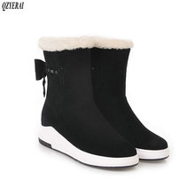 QZYERAI New arrival winter warm snow boots women flat fur rear bow shoes size 34-43