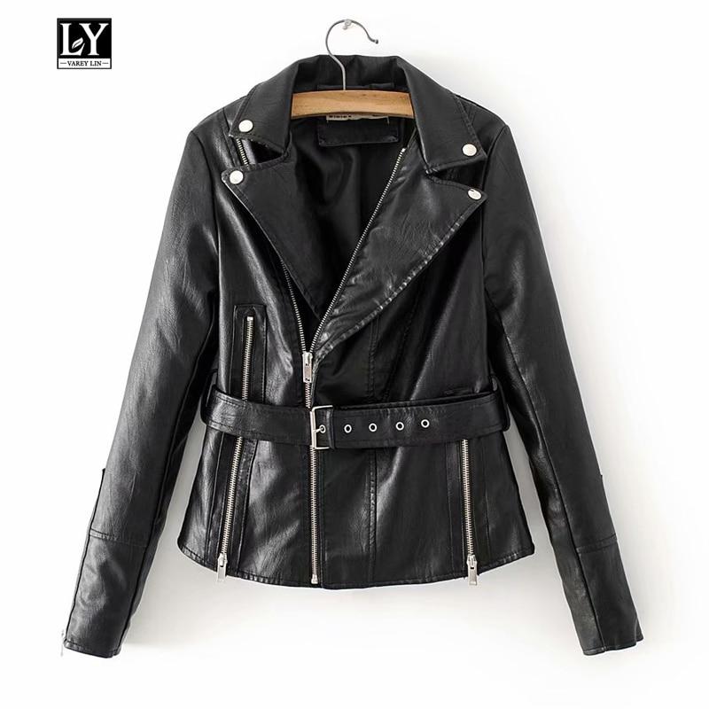 Ly Varey Lin Autumn Faux Soft   Leather   Women Jacket Turn-down Collar Coat Motorcycle Zipper Rivet Slim   Leather   Jacket Outerwear