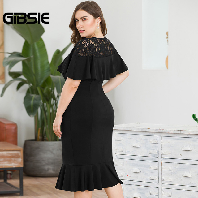 GIBSIE Plus Size Elegant Lace Patchwork Ruffle Party Bodycon Dress Women Summer Wear To Work Knee Length Sheath Mermaid Dress 4