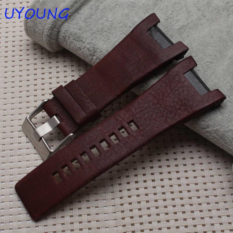 """רצועת השעון עור אמיתי באיכות 32*17 מ""""מ ממשק ברמה גבוהה לגברים מיוחד רצועת עור להחלפת DZ1216 DZ4246"""