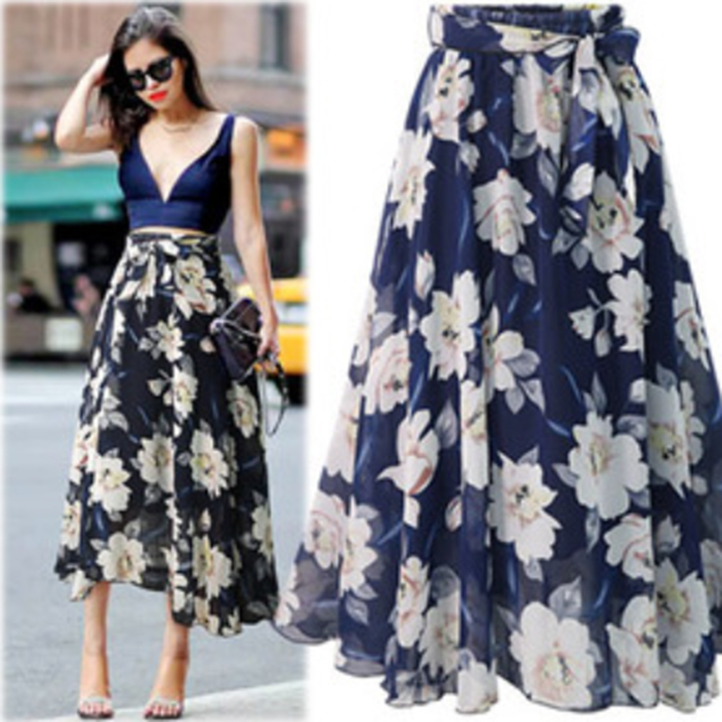 New Plus Size Women Chiffon Skirt Europe Fashion Bow Saia Midi Lining Jupe Femme Lace Up Falda Mujer Summer Print Floral Skirts 5
