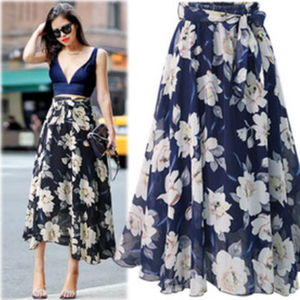 Image 5 - New Plus Size Women Chiffon Skirt Europe Fashion Bow Saia Midi Lining Jupe Femme Lace Up Falda Mujer Summer Print Floral Skirts