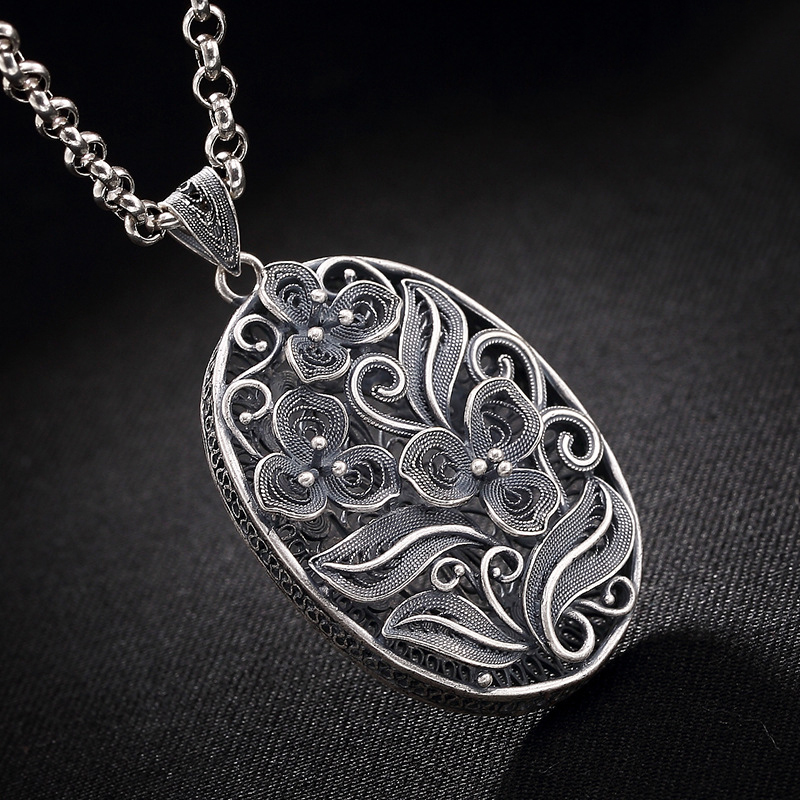 Flower Round 925 Sterling Silver Diy Pendant Charms Women Costume Jewelry Fit Pendant Necklace Suspension HP039 alloy rose flower pendant necklace