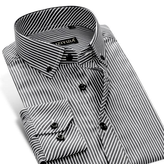 CAIZIYIJIA 2016 Nueva Moda de Rayas Camisa de Los Hombres de Negocios Casual Cuello Cuadrado Botón-camisa de Manga Larga Slim Fit 100% Algodón camisas