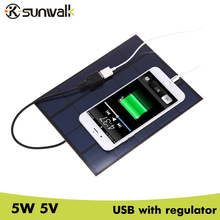 SUNWALK 5W 5V Solar Panel Charger USB Output 830mA Monocrystalline Silicon Solar Charger 5V for Power Bank / Cell Phone