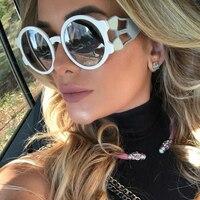 FEISHINI фестиваль качество потребительские коричневый круглые женские солнцезащитные очки Брендовая дизайнерская обувь Pattern облако UV400 солнц...