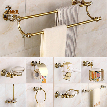 ZGRK Classical Solid Brass Bathroom Hardware Set Gold Polished Accessories Wall-Mounted Towel Bar Paper Holder Bathroom Products solid brass bathroom towel rack single bar carved holder antique brass bathroom towel holder wall mounted