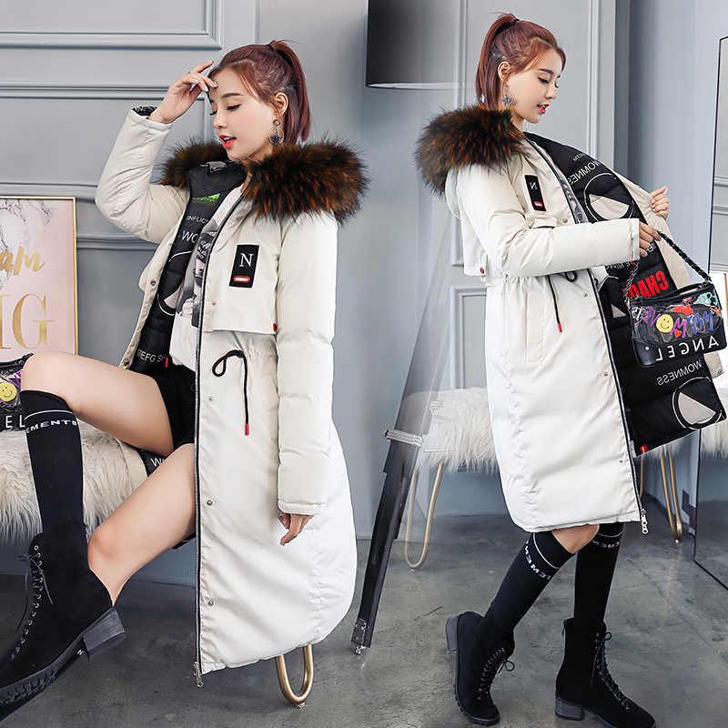 Двустороннее хлопковое платье женское средней длины зима 2018 новая Корейская версия с капюшоном стеганая хлопковая куртка