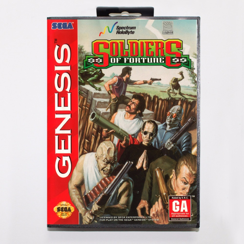 Soldiers of Fortune Game Cartridge 16 bit MD Game Card With Retail Box For Sega Mega Drive For Genesis