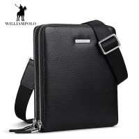 Luxury Deer Skin Men bag Genuine leather Men Double zipper men messenger bag male business crossbody shoulder bags bolsas male