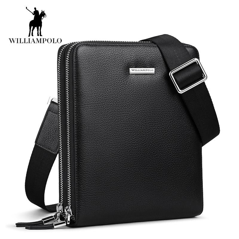 Luxury Deer Skin Men bag Genuine leather Men Double zipper men messenger bag male business crossbody shoulder bags bolsas male ...