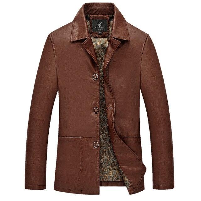 М-4XL Топ Человек Коричневый Кожаный Пиджак Мужские Роскошные Куртки И Пальто Плюс Размер Одежды Однобортный Черный Бизнес Стиль Пальто