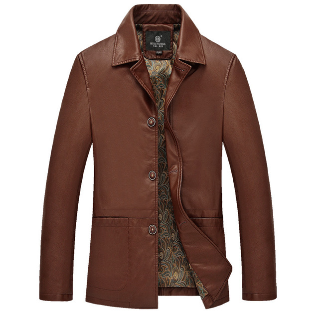 M-4XL Top Man Brown Leather Jacket Mens Luxury Jackets And Coats Plus Size Clothing Single Breasted Black Business Style Coat