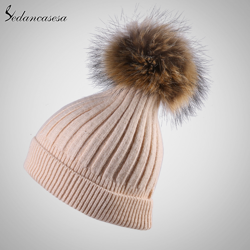 ФОТО Sedancasesa new knitted hat female winter autumn keep warm beanie hat for women girl Hot Selling pompom beanie Cap hot AA150051