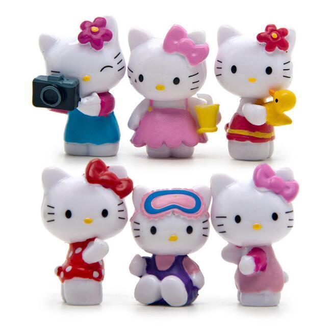 6Pcs/set Lovely Kawaii Hello Kitty Mini Figures Children Toys DIY Craft Christmas Decoration PVC Action Figures