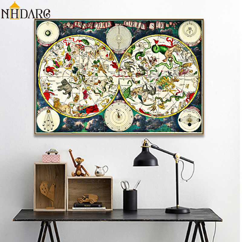 Ancient Map World Map Posters and Prints Canvas Painting Art Wall Pictures for Living Room Retro and Nostalgic Home Decor Cuadro