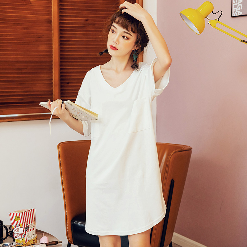 Summer Ladies Sexy White Nightdress Cotton Thin   Nightgown   Loose Simple Solid Color   Sleepshirt   Short Sleeved For Women Lingerie