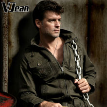 V JEAN Men's Hooded Military Jacket with Pockets #2B137