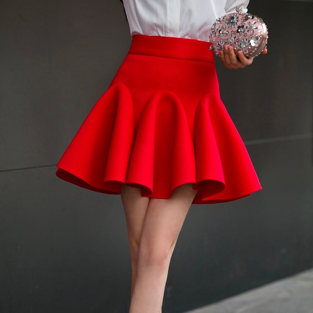 High Waist Pleat Elegant Skirt Red Black White Mini Flared Skirts Fashion Women Faldas Saia 2XL Plus Size Ladies Jupe 0222 69