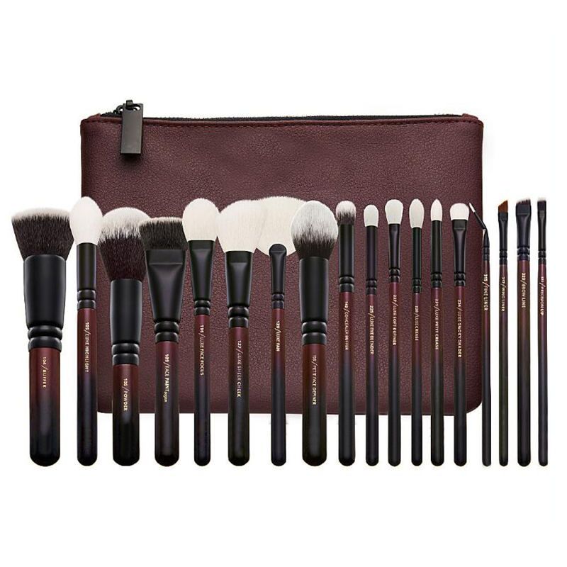 Top Brand Makeup Brushes Set 18pcs Wine Red Professional Make Up Tooles With Leather Case Soft Synthetic Hair Cosmetic Kit soft synthetic makeup brushes set 12 pieces makeup tools kit pink with case