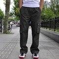 Chegada nova Marca de Moda Mens Carga Folgado Hop Bolso Casuais Solta macacão de Trabalho Calças Calça Tamanho Grande l xl 2xl 3xl 4xl 6xl