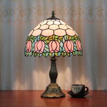 12inch European style Tiffany rose flower table lamp stained glass for living room Bar Cafe bedroom bedside lamp(China)