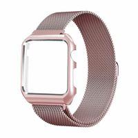 Milanese Loop Bracelet Watch Band Strap Metal Case For Apple Watch IWatch Series1 2 Black Silver