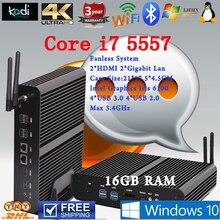 Безвентиляторный Мини-ПК Linux Windows 10 Intel Core i7 Бродуэлла 5557U макс 3.4 ГГц Графики Iris 6100 HTPC 16 Г RAM наилучшую конфигурацию usb
