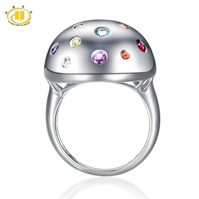 HUTANG Real Multi-color Gemstones Solid 925 Sterling Silver Ball Ring Peridot, Citrine, Aquamarine Fine Jewelry Women's 2017