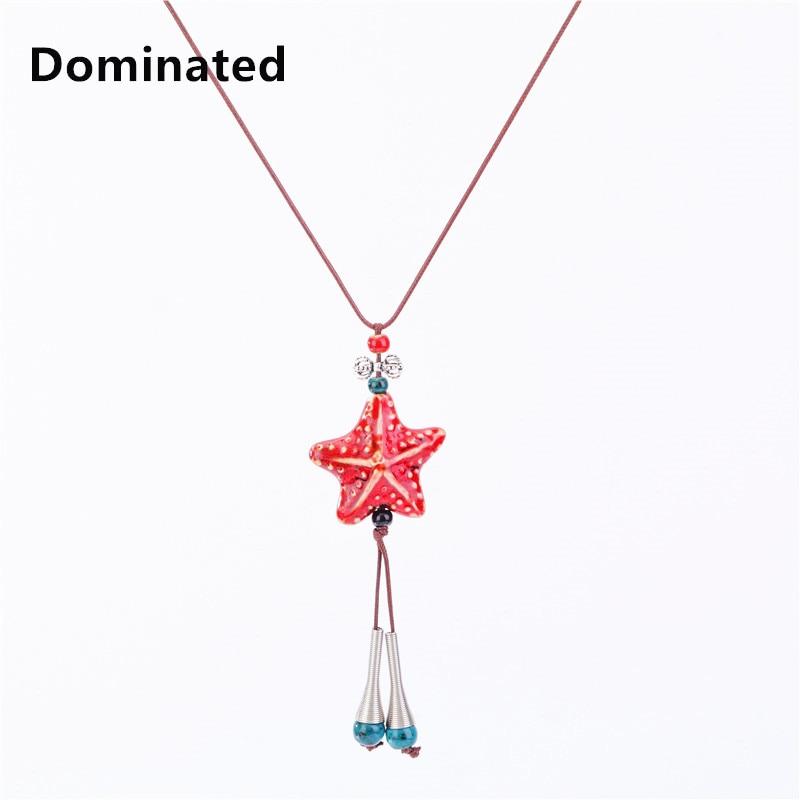 Dominated Women Pendant Fashion long sweater national wind ceramic pentagram necklace