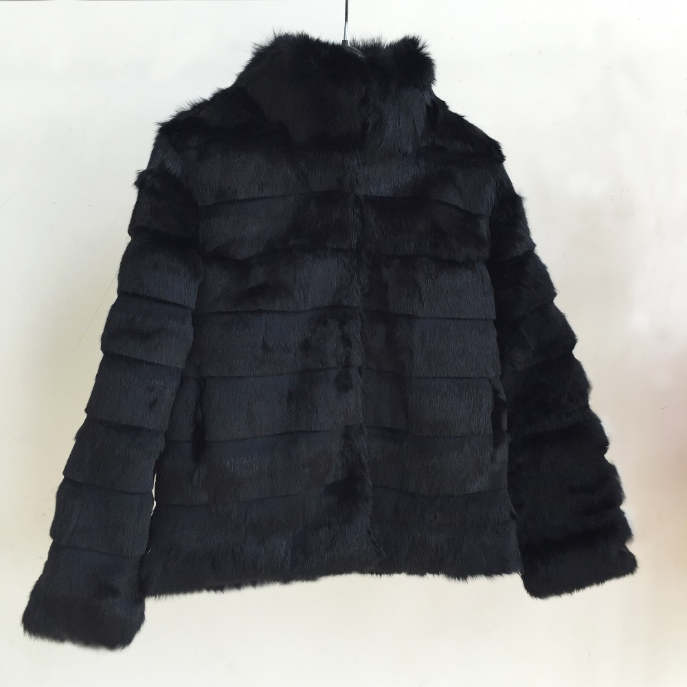2019 Standard Collar Natural Real Whole Skin Rabbit Fur Coat with Striped Cut Pure Fur Jacket
